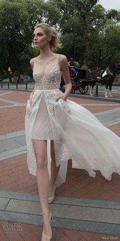 inbal dror 2016 sleeveless v neck illusion strap short wedding dress a line overskirt pocket slit heavily embellished style 11 mv