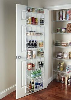 Or if you want space to store bigger, heavier items in addition to seasoning packets and things, opt for a solution that will add extra pantry shelf space, like a sturdy over-door rack. 32 Kitchen Organizing Basics That You Should Probably Know By Now Kitchen Pantry Design, Kitchen Shelves, Kitchen Organization, Diy Kitchen, Kitchen Storage, Kitchen Cabinets, Storage Spaces, Organization Ideas, Door Shelves
