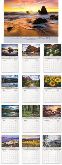 Order your 2017 Calendars now and have them in just a few business days! They are great for the office, home, friends, family and as holiday gifts. Embracing American Landscapes & Nature 2017 Calendar photos were chosen carefully from my Fine Art Print Collection with all of you in mind. Enter my shop here to view more of my fine art photography: www.etsy.com/shop/SusanTaylorPhoto  Susan Taylor Fine Art Photography Calendars have been very popular for several years and this tim...