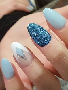 glitter nail art idea, I am loving this color combination, gorgeous summer nails
