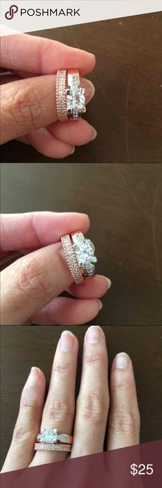 18K Rose Gold Plated Wedding set -Brand New - Ring is 18K Rose Gold over 925 Sterling Silver Plated - Band is 18K Rose Gold Plated  - Stone is Cubic Zirconia - Comes with cute gift box Jewelry Rings