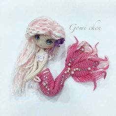 Amigurumi pink mermaid. (Inspiration).♡