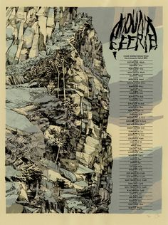 Image of Mount Eerie (Fall 2012 Tour) Omg Posters, Band Posters, Communication Art, Mount Rushmore, City Photo, Illustration Art, Illustrations, Poster Prints, Around The Worlds