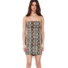 Snake Pattern Strapless Tube Dress – Lupsona