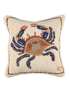Beach Pillow, Blue Crab Hooked Pillow