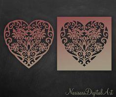 Floral Heart Cricut / Silhouette vector Cutting File / SVG