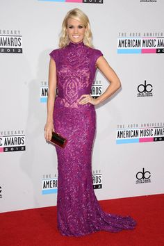 Carrie Underwood arriving at the 2012 American Music Awards.