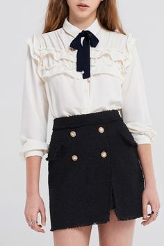 Villena Ruffle Blouse With Pearl Tie
