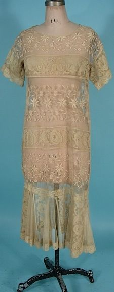c. 1926 Flapper OverDress of Dark Ecru Colored Filet Lace and Embroidered lace