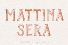 Mattina-Sera SVG font by New Tropical Design on @creativemarket #display #font #handpicked Otf Font, Retro Font, Tropical Design, Brush Font, Hand Sketch, Painted Letters, Brand Identity Design, Branding Design, Fonts