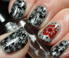 Stamping with Accent Nail