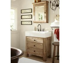 Mason Reclaimed Wood Single Sink Console - Wax Pine finish