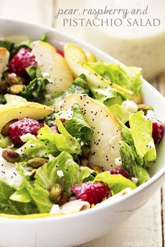 Pear, Raspberry and Pistachio Salad with a Creamy Poppyseed Dressing   The Recipe Critic