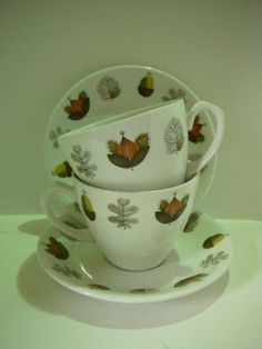 Alfred Meakin England Glo White Vintage 60s 70s 2 x cup & saucer Autumn design