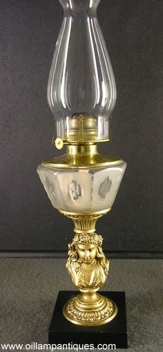 Figural Oil Lamp with Panelled Font. ca 1873 - Oil Lamp Antiques