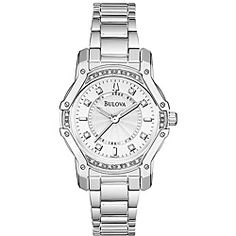 This Bulova Wintermoor Women's silver tone stainless steel watch with diamond accent. A brushed silver tone stainless steel case and bezel and a brushed silver tone dial is what brings this magnificent watch.  Also...pretty!