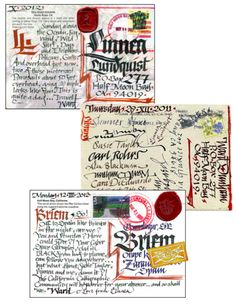 Ward Dunham writes postcards every day -- Clearly this has become his handwriting. Then again, Calligraphy means handwritten, so it makes a lot of sense. I'd like to start doing this.