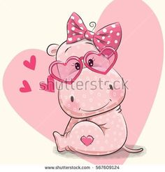 Cute hippo girl in sunglasses on a heart background