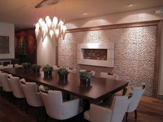 Cool textural conference room....or might use this for a dining room idea.