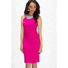 Frank Lyman Ruched Side Embellished Neckline Dress