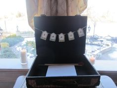 Vintage luggage card box to capture how much we traveled to be with one another!