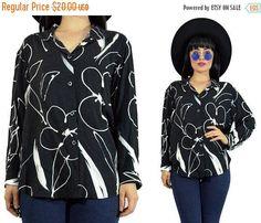 SALE vintage 90s floral minimalist shirt grunge button up top