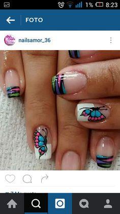 Uñas Butterfly Makeup, Nail Effects, Nail Tips, Nail Designs, Nail Art, Nails, Beauty, Models, Fingernails Painted