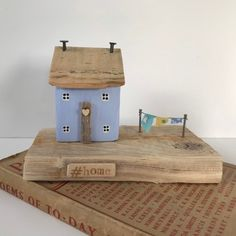 Pale blue wood house new home ornament, driftwood art home gift idea by OntheTide on Etsy Small Wooden House, Wooden Cottage, Wooden Houses, Coastal Cottage, Painted Driftwood, Driftwood Art, Little Houses, Tiny Houses, Driftwood Projects