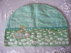 vintage crinoline lady embroidered tea cosy