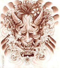Geisha and Hannya Tattoo Design by on DeviantArt Oni Tattoo, Hannya Maske Tattoo, Raijin Tattoo, Demon Tattoo, Samurai Tattoo, Japanese Demon Mask Tattoo, Japanese Hannya Mask, Tattoo Sketches, Tattoo Drawings