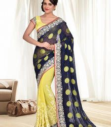 Buy Blue and Yellow embroidered georgette saree with blouse party-wear-saree online