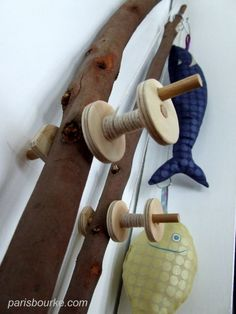 """Do you remember this fishing game I sewed 2 years ago? Recently, I failed under the pressure of my little one, and I made 2 """"real"""" fishing poles, with sticks. Thanks to one of my frien… Crochet Fish, Crochet Toys, Bazaar Ideas, Waldorf Toys, Montessori Activities, Cool Diy Projects, Project Ideas, Wood Projects, Sewing Toys"""