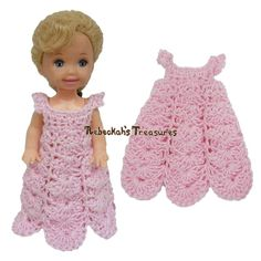 Dressy Dress 12 ~ Pretty in Pink Free Crochet Pattern for Children Fashion Dolls by Rebeckah's Treasures