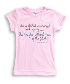 Light Pink 'Proverbs 31:25' Fitted Tee - Girls