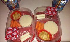 Bento Lunch box idea 11-11-15 PB & J Honey nut chex Carrot sticks String cheese Pudding