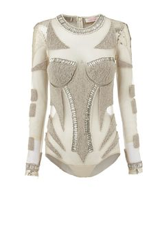 SUPERLUMINOUS - embellished mesh bodysuit with gold & cream beading. bodysuit comes with detachable cream skirt. White Outfits, Sewing Clothes, Leotards, Ready To Wear, Fashion Looks, Street Style, Style Inspiration, Clothes For Women, My Style