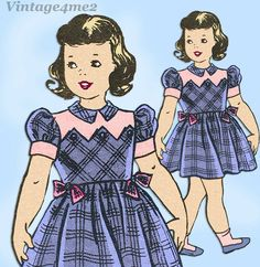 With Cute Zig Zag Yoke Design. Kids Patterns, Simplicity Sewing Patterns, Vintage Sewing Patterns, Girls Dresses Size 6, Toddler Girl Dresses, Toddler Girls, Zig Zag Dress, Girls Jumpers, Girl Dress Patterns