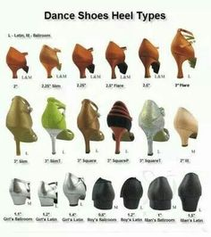 "Dance Shoes Heel heights. ""Repinned by Keva xo""."