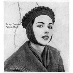 This vintage crochet pattern gives directions for a womans medium hat that is a bulky beret style that has ear muffs that come down and fasten under the neck. Crochet Beret Pattern, Knitted Beret, Crochet Patterns, Vintage Knitting, Vintage Crochet, Crochet Hooks, Knit Crochet, American Threads, Wrist Warmers