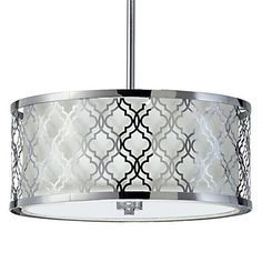 Chrome finished Maverick Chandelier featuring a quatrefoil geometric pattern. $499.00 #ZGallerie