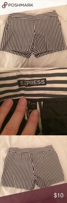 Express Striped Cotton Shorts Striped Cotton Shorts, barely worn. Slightly stretchy and not super short. Size 4, not very tight. Express Shorts