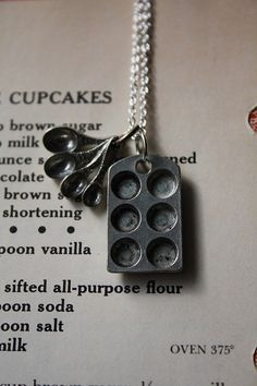 Bakers Love Cupcake Muffin Pan and Tiny Measuring Spoons on a Sterling Silver Plated Chain on Etsy, $22.00