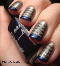 Steel Me French Tips - magnetic silver with a pop of color. definitely want to try this