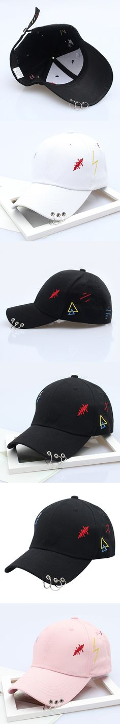 2017 baseball cap unisex solid Patch Ring Safety Pin curved hats baseball cap men women snapback caps casquette gorras
