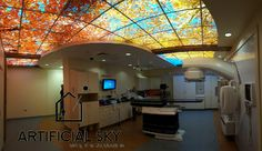 Check out http://artificialsky.com!  Artificial Sky, pricing and layout information for ceiling art, virtual sky, sky ceilings, decorative wall murals, canvas wraps and other distraction aides for commercial and residential use.