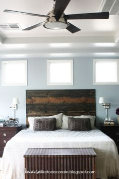 DIY Rustic Headboard Tutorial | becauseiliketodecorate - Master Bedroom idea to match headboard to wood chest at end of bed. Like the night stand lamps too.
