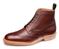 Chunky brogue derby boot, made using the '024' last in an F width. Naseby features antiqued oxblood grain leather uppers and double leather welted soles, and is handmade in England.
