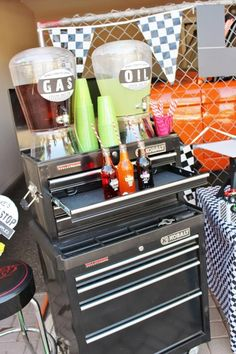 Beverage service bar set up in a tool chest. Draws hold paper plates & utensils.