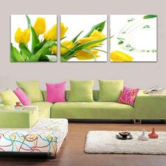 Yellow tulip flower wall picture for living room. Canvas prints with different sizes at competitive price for your home, customized size are welcome!