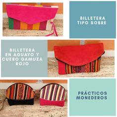 Billeteras artesanales en cuero y aguayo tejido Bags, Coin Purses, Red, Leather, Jewels, Tejidos, Accessories, Handbags, Totes